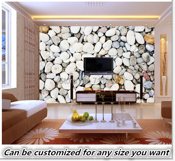 Free shipping custom murals smooth beach stones wall for 3d wallpaper designs for living room india