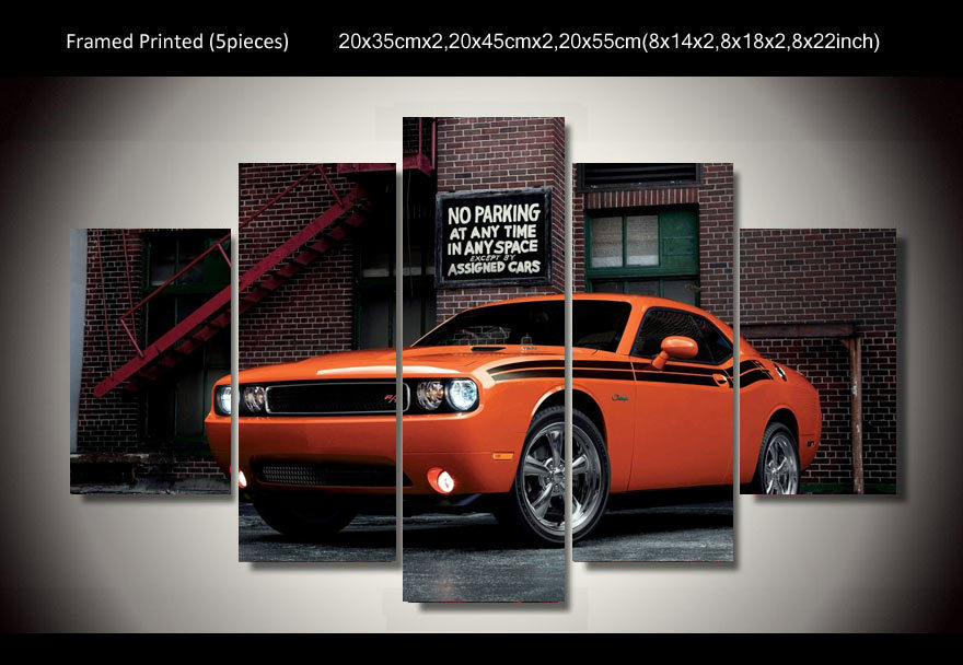 HD Printed Car dodge challenger 5 piece picture painting wall art ...
