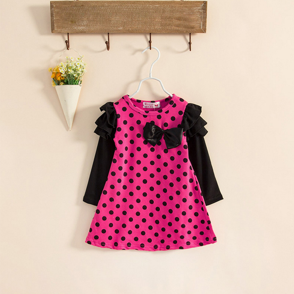 2017 Summer Baby Girls Dresses Kids Clothes Long sleeve Dress Yellow/ Rose Bowknot Children Clothing Vestidos