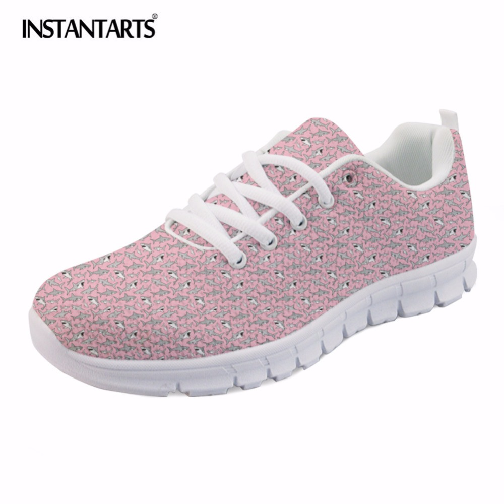 INSTANTARTS Pink Cartoon Shark Print Women Lace Up Flat Shoes Fashion Summer Air Mesh Shoes Breathable Sneakers for Woman Lady minika fashion air mesh shoes women breathable