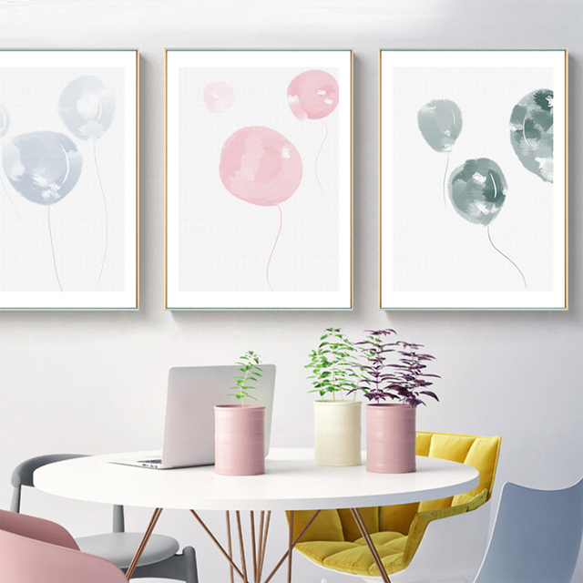 Graffiti Pink Balloon Wall Pictures Living Room Canvas Art Paintings Baby Bedroom Prints