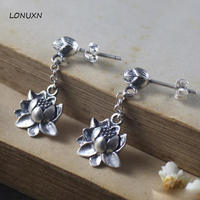 a pairs new design Long Big Lotus flowers tassel girls Retro 925 Sterling Silver 100% Handmade Jewelry Women Statement Earrings