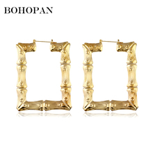 Vintage Square Large Hoop Earrings For Women Bamboo Design Gold Silver Charm Fashion Jewelry Statement Bijoux 2018 New
