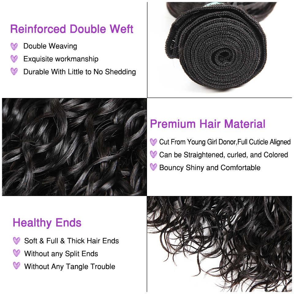 Ali graça peruano onda de água 3 pacotes com fechamento 100% pacotes cabelo humano remy com 4*4 fechamento do laço peruano onda água