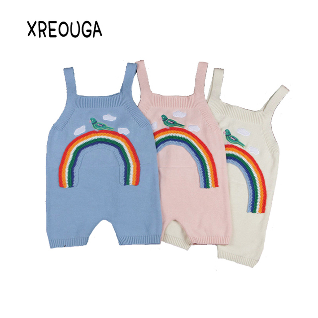 c51d5c0ccdaa 1-5T New Embroidery Baby Newborn Knitted Rompers Overalls Jumpsuits Boys Girls  Bird Rainbow Harem Pants Kids Clothes XC12