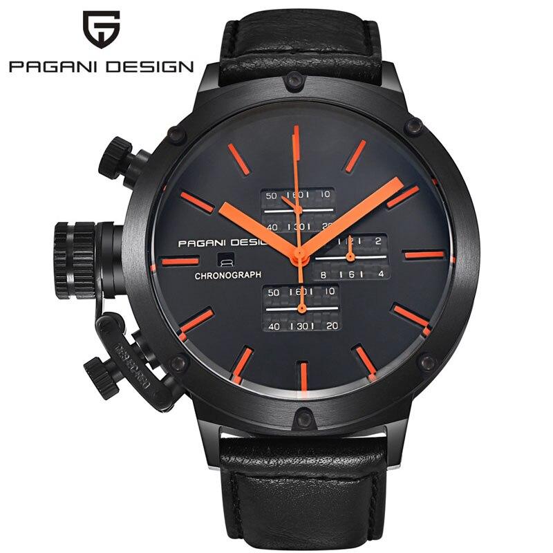 2017 PAGANI Дизайн Новый Элитный бренд кожаным ремешком Reloj Hombre нескольких Спортивные Водонепроницаемый кварцевые наручные часы Relogio Masculino
