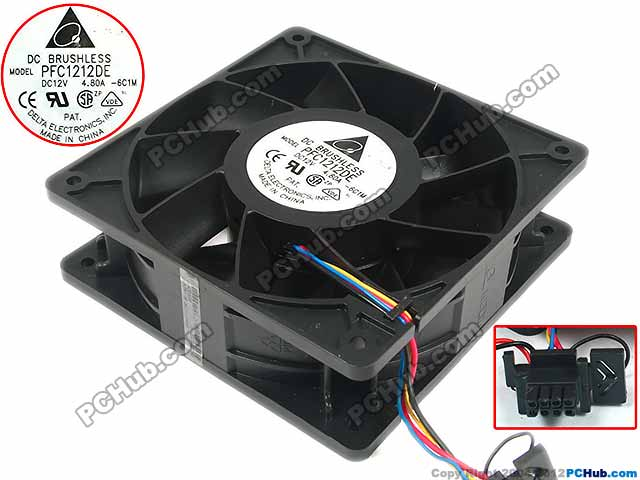 Delta PFC1212DE 6C1M DC 12V 4.80A 120x120x38mm Server Square Fan free shipping for delta ffr1212dhe sp02 dc 12v 6 3a 120x120x38mm 4 wire car booster fan