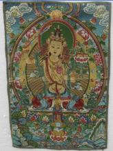 A golden silk embroidery thangka  guanyin Tibet and Nepal exorcism peace wealth