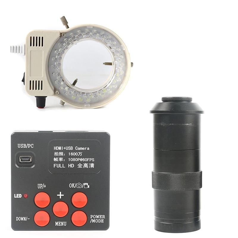 16MP 1080 P 720 P USB HDMI Industrielle Microscope Caméra Pour Le Stockage Photo & Vidéo + 100X Zoom C-MOUNT Lentille + 56 LED Light Ring Lamp