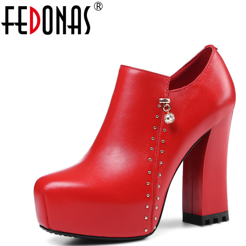 FEDONAS New Women Platforms Pumps Round Toe Thick High Heels Women Genuine Leather Shoes Woman Fashion Rivets Punk Pumps Black серьги bella bellezza серьги