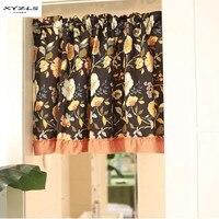 XYZLS Американский Стиль Цветочный дом Half-Шторы Винтаж Кухня Шторы Cafe короткая панель Шторы цельнокроеное платье