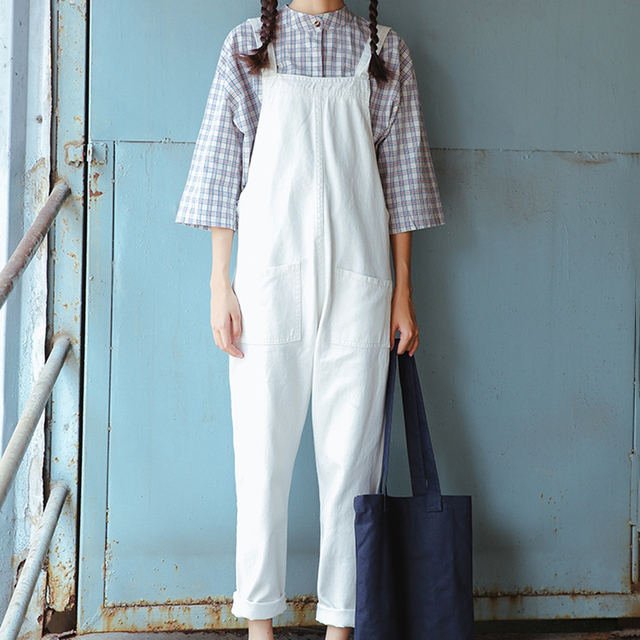 Women Overalls Spring Autumn Casual Solid Loose Pockets Jumpsuits