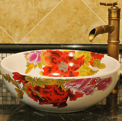 Various peony design art ceramic porcelain bathroom sinks stately gold silver color art porcelain ceramic bathroom sinks
