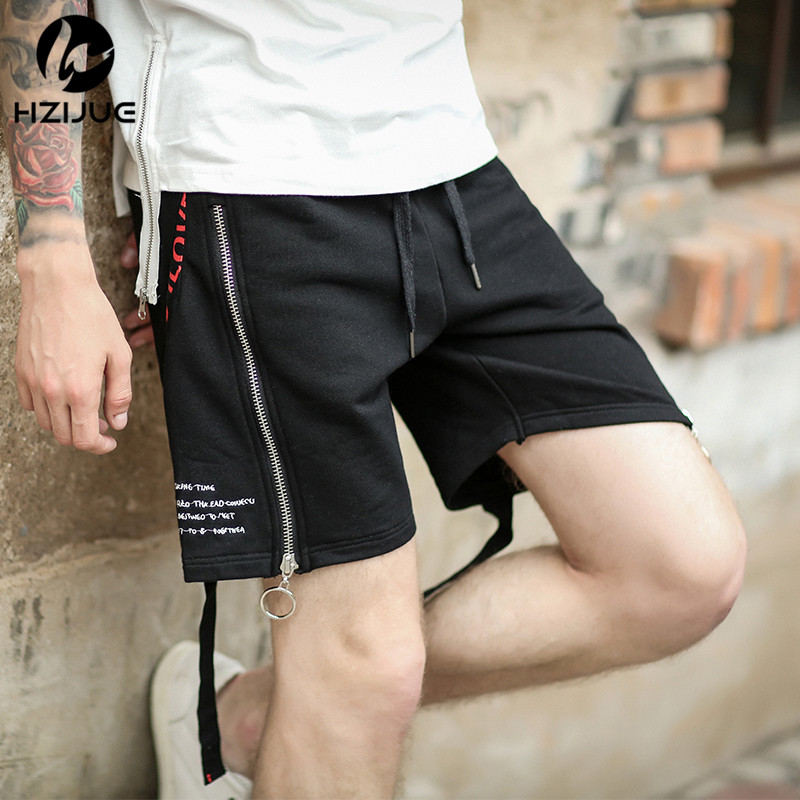 HZIJUE 2018 Justin Bieber Style  Zipped Pocket Terry Shorts Ripped Raw Hem Sweat High Quality Shorts Summer New Men Shorts