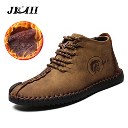 Keep Warm Winter Men Boots High Quality Split Leather Casual Men Shoes With Plush Rubber Boots Men Waterproof Big Size 40~48