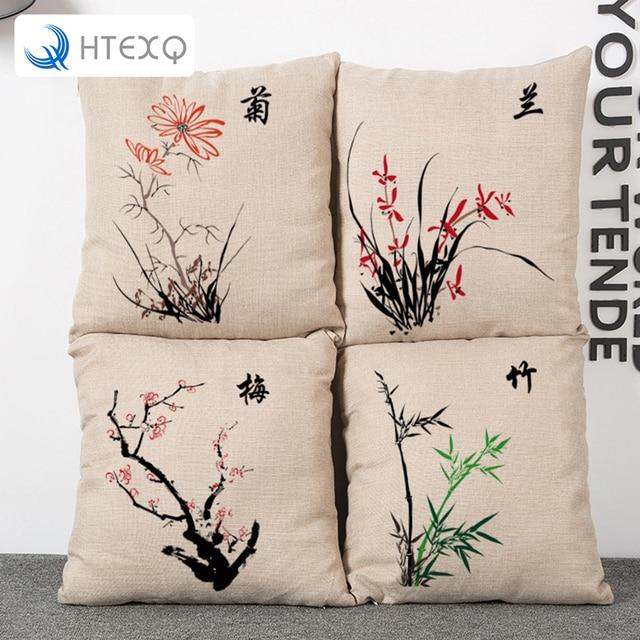 Modernen Chinesischen Stil Kissenbezug Plum Bluten Orchideen