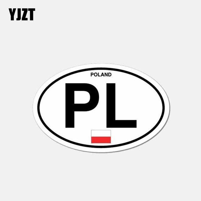 YJZT 11.9 CM * 7.5 CM PL pologne Code pays voiture autocollant casque moto décalque 6-2640