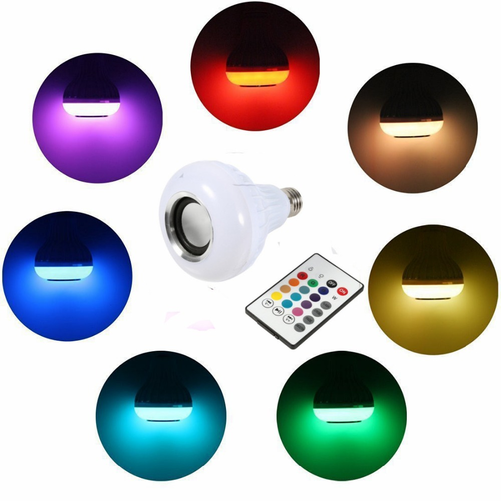 Light Bulbs E27 Bluetooth Speaker Light Bulb Dimmable Led Music Bulb 100-240v Rgbw Colorful Wireless Stereo Audio Lamp With Remote Control Curing Cough And Facilitating Expectoration And Relieving Hoarseness