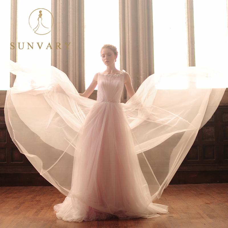 Sunvary vestido de boda de las correas de encaje escarpado o-cuello - Vestidos de novia