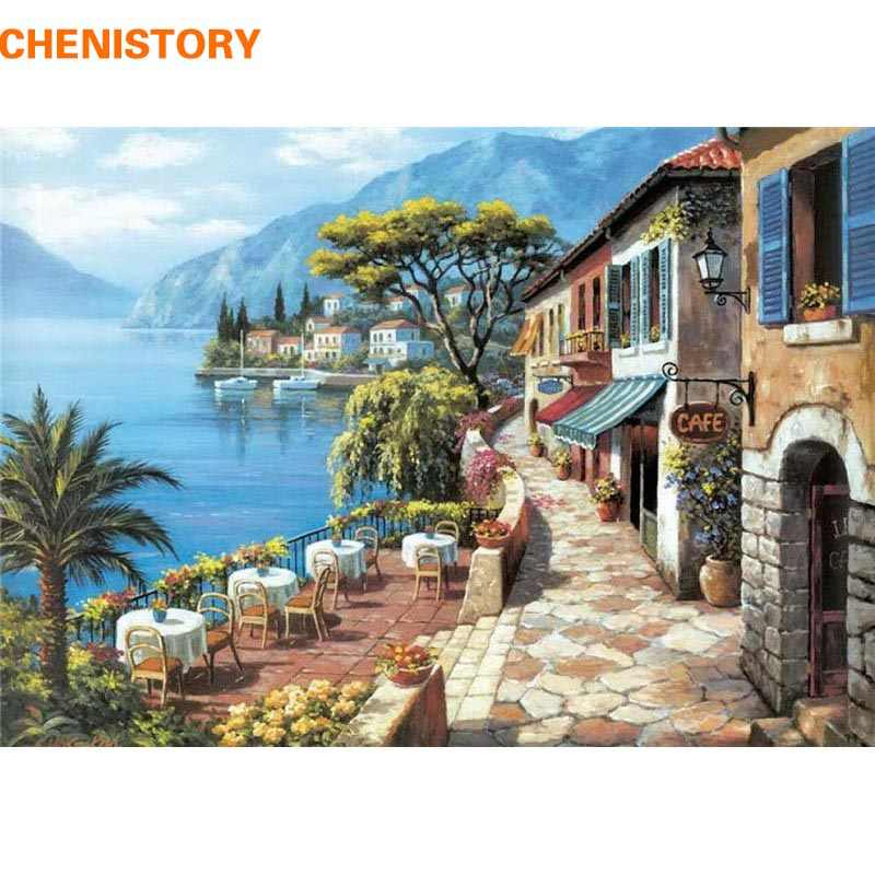 CHENISTORY Seaside Coffee Shop Landscape DIY Painting By Numbers Modern Wall Art Home Decor HandPainted Oil Painting Unique Gift