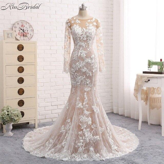 New Mermaid Long Wedding Dress 2018 O Neck Sleeves Court Train Liques Tulle