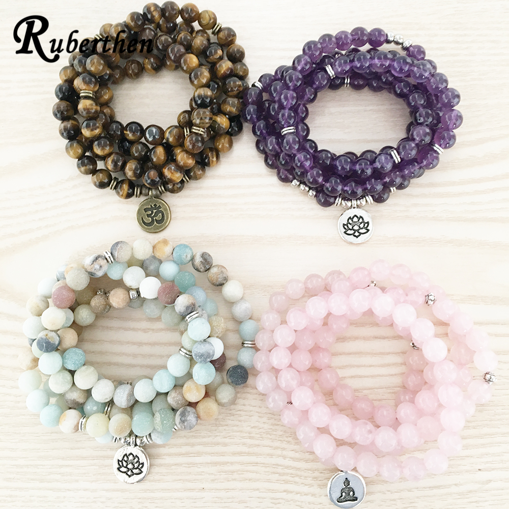 Ruberthen High Quantity Natural Stone Bracelet 108 Mala Yoga Necklace Matte Amazonite S Jewelry Hot Sale