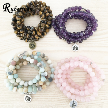 Ruberthen High Quantity Natural Stone Bracelet 108 Mala Yoga Necklace Matte Amazonite S Jewelry Hot Sale