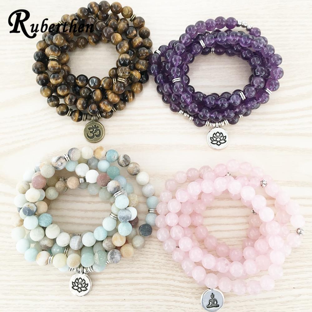 Ruberthen High Quantity Natural Stone Bracelet 108 Mala Yoga Necklace Matte Amazonite S Jewelry Hot Sale 2018 Free Shipping