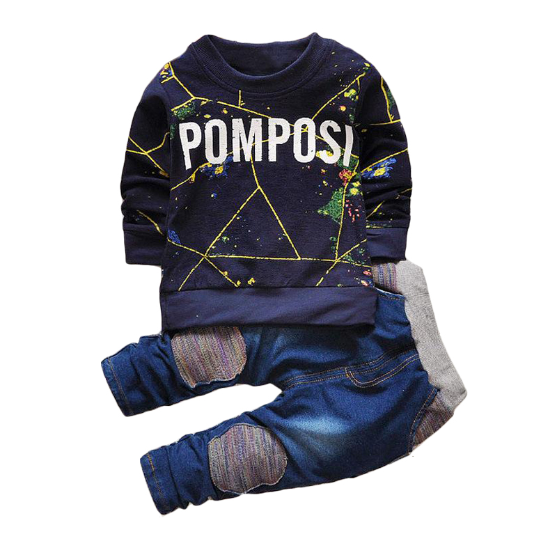1 2 3 4 5 Year Boys Clothes Spring Autumn Casual Cotton Children Clothing Set Long Sleeve Shirts Denim Pants Kids Clothes