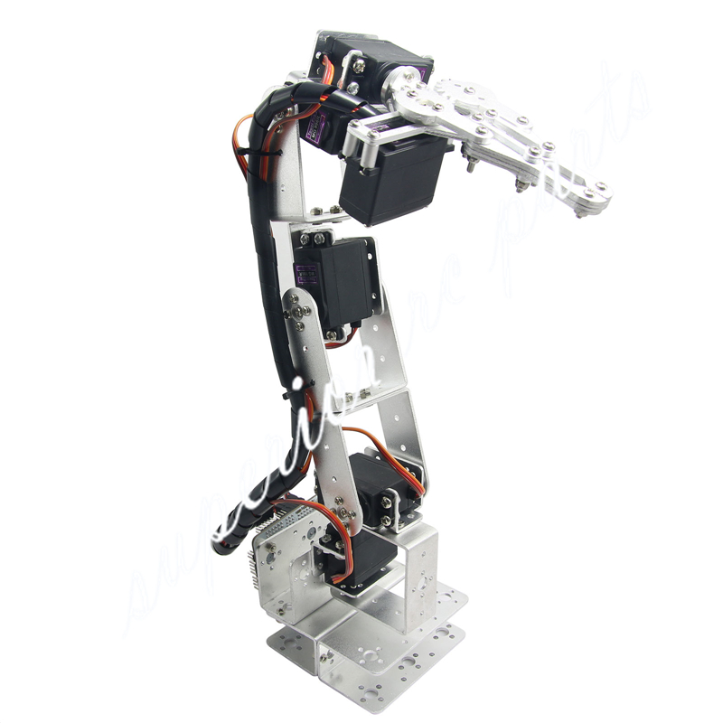 Arduino Robot 6 DOF Aluminium Clamp Claw Mount Kit Mechanical Robotic Arm & Servos & Metal Servo Horn-Silver 3 dof metal robotic claw gripper robot mechanical claw compatible with ld 1501mg digital servo ldx 335 single axis digital servo