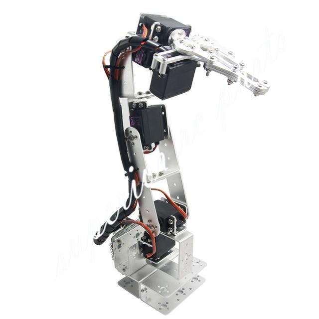 US $45 35 10% OFF|Arduino Robot 6 DOF Aluminium Clamp Claw Mount Kit  Mechanical Robotic Arm & Servos & Metal Servo Horn Silver 20% OFF-in Parts  &