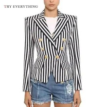 Vertical Striped Blazer Women Double Breasted Blazer Women Long Sleeve Ladies Blazers And Jackets Female Woman Blazer 2019