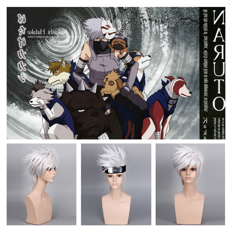 Anime NARUTO Hatake Kakashi Cosplay Wig Women Men Solid Sliver Soaring Fluffy Short Hair Wigs Halloween Party Accessories Hair