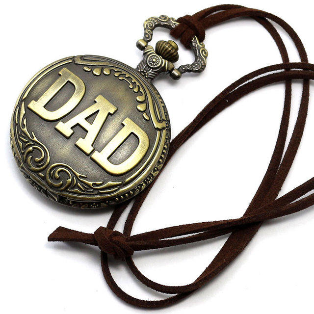 Antique Bronze Dad Pattern Quartz Pocket Watch with Necklace Fob Watch Father's Day Gift Father's Day Gifts Sets