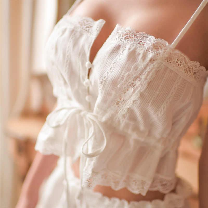 נשים של פיג 'מה כותנה עם מכנסיים קצרים עיטור תחרה ללא שרוולים רצועת מוצק כתונת לילה בגדי בית לנשים סקסי הלבשה תחתונה הלבשת 2019