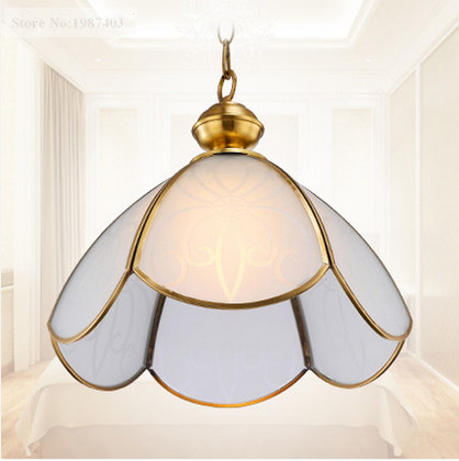 ФОТО European classical copper&frosted glass Pendant lights Handmade soldering E27 LED lamp for porch&pavilion&stairs&cafe BRSDD001