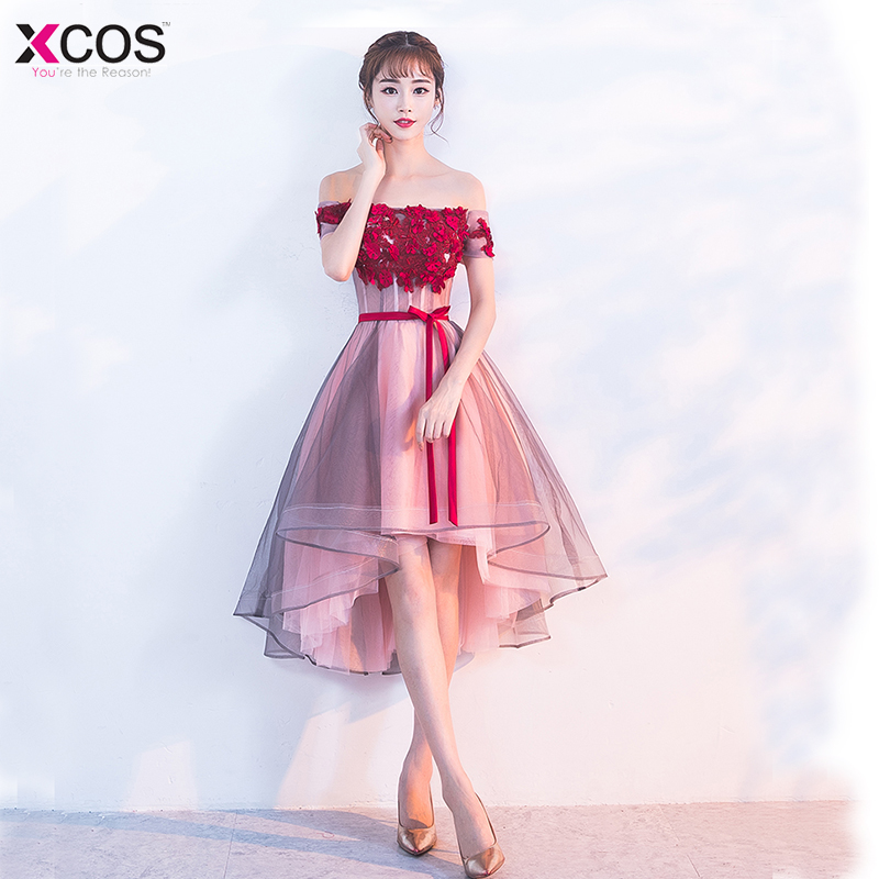 2018 Flowers Prom Dresses Short Front Long Back Evening Gown Red