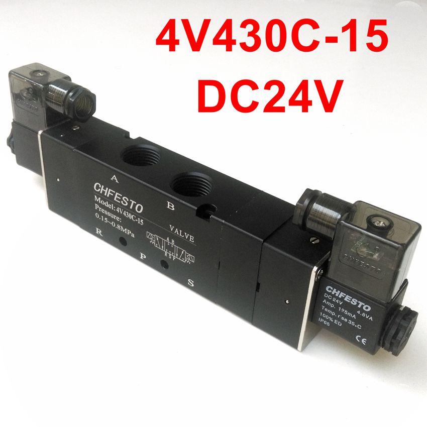 4V430C 15 Pneumatic Solenoid Valve 1/2'' 5/3 Way Valve DC24V DC12V AC220V AC380V AC110V