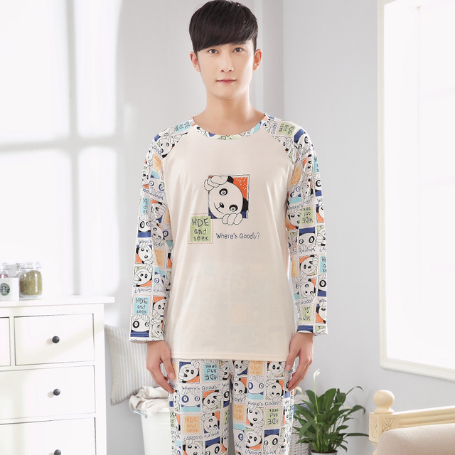 Pajamas Men Spring and Autumn Mens Home wear Set Cotton Sleepwear Long-sleeves Cartoon Printing Plus Size XXXL 4XL -5092