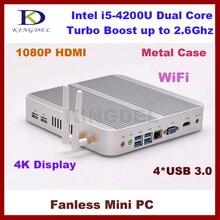 Portable Network Mini PC Core i5 4200U 1.6 ~ 2.6 ГГц Неттоп с 8 ГБ RAM + 64 ГБ SSD + 1 ТБ HDD, Gaming PC Безвентиляторный Настольный Компьютер, TV Box
