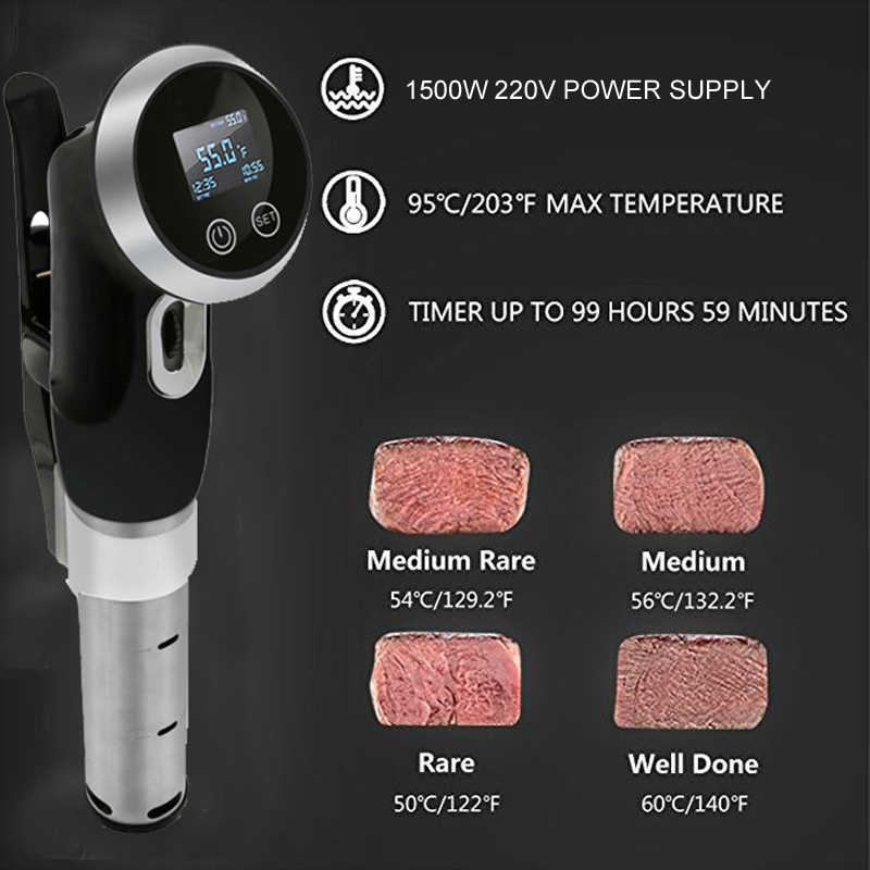 Sous Vide Vacuum Slow Food Cooker 1500W Powerful Immersion Circulator - LCD Digital Timer Display Stainless Steel