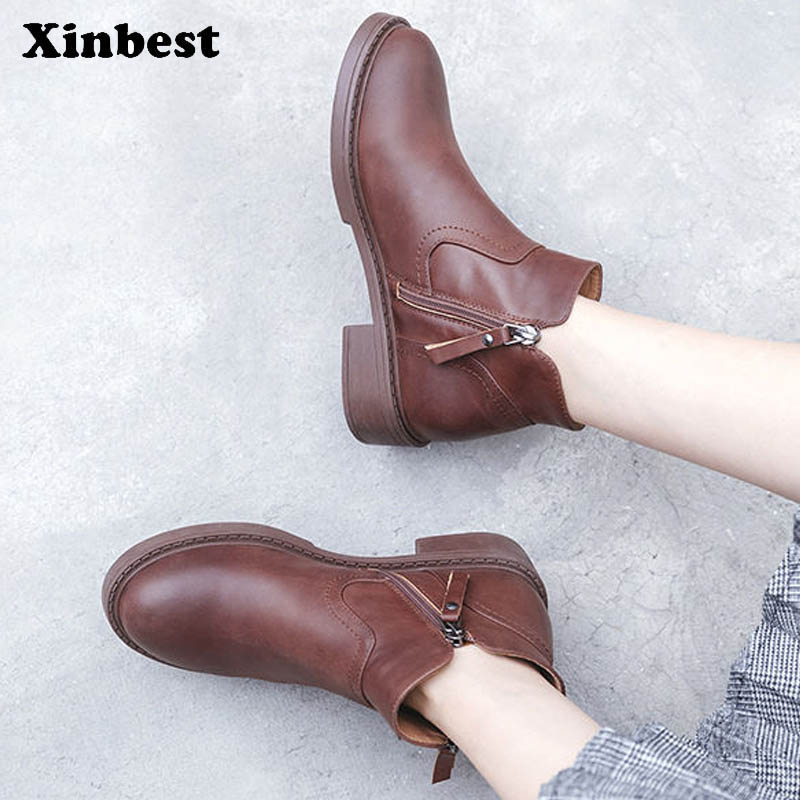 Xinbest Women Boots Genuine Leather Ankle Boots For Women Round Toe Womens Winter Boots Casual Fashion Women High Heel Shoes lin king womens faux leather ankle boots platform high heel booties for women fashion buckle winter dress shoes martin boots