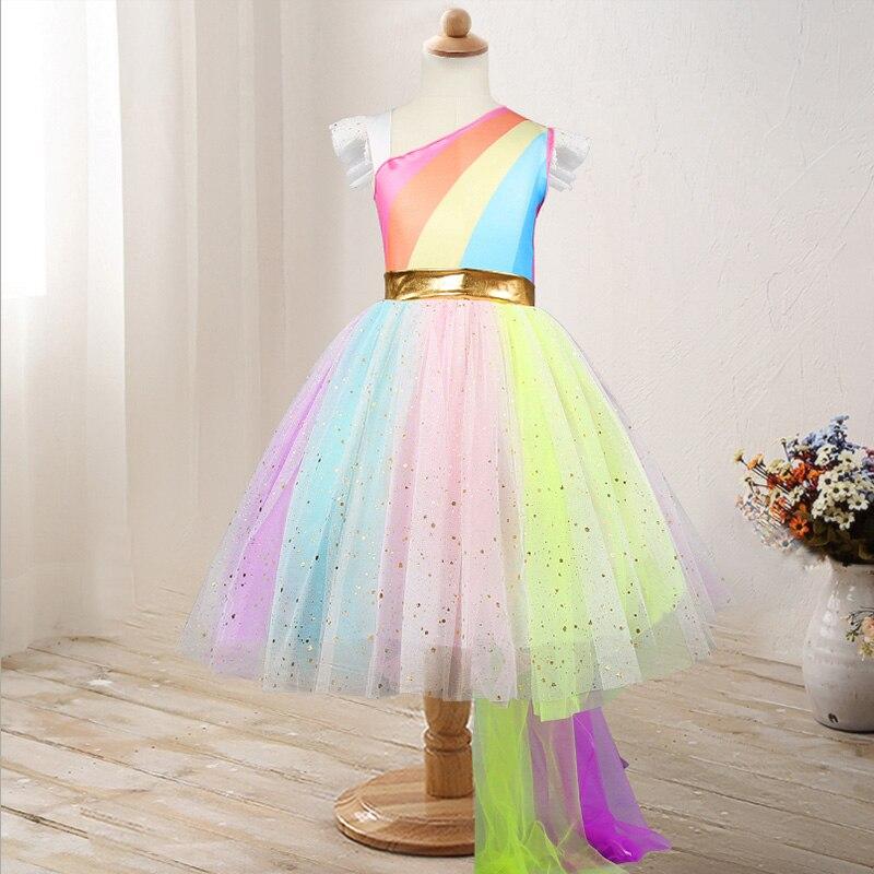 2019 Summer Baby Girls Designed Unicorn Tutu Dress Fairy Rainbow Princess Tulle Dress Children Birthday Party Gifts Cosplay day dress