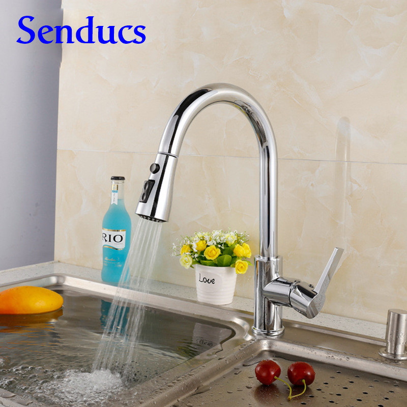 Free shipping Newly design pull out kitchen sink faucet with solid brass kitchen mixer tap of hot cold pull down kitchen faucet kitchen chrome plated brass faucet single handle pull out pull down sink mixer hot and cold tap modern design