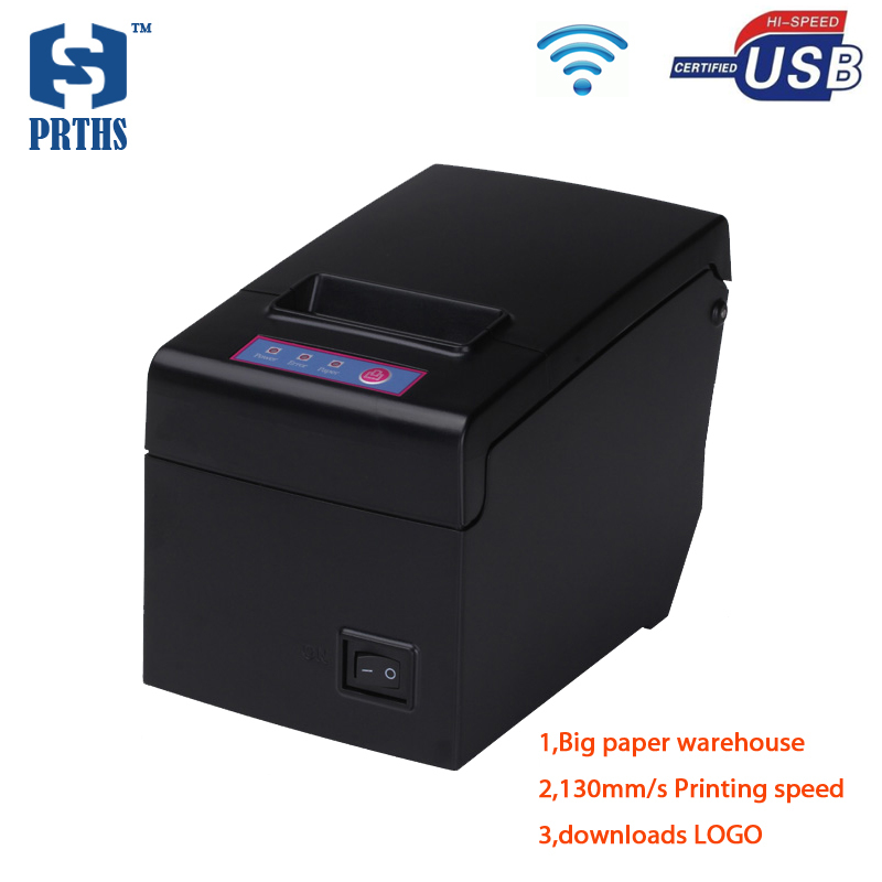 Haute qualité 58mm usb wifi pos imprimante thermique réception support d'impression LOGO et graphiques téléchargements avec grand entrepôt de papier