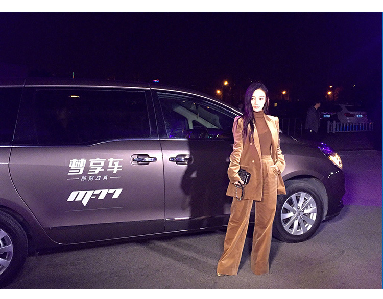 Li Xiaolu star with the wide leg pants velvet suit women autumn winter casual suit fashion two new collage Coat + trousers cool