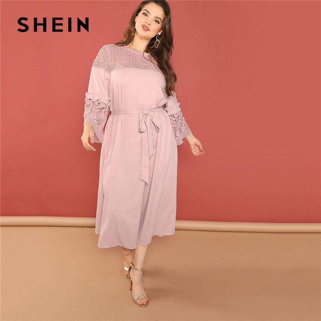 362217d9df12e SHEIN Plus Size Pink Guipure Lace Trim Ruffle Sleeve Tied Waist Dresses  Elegant Women Office Lady Hollow Out Shoulder Long Dress