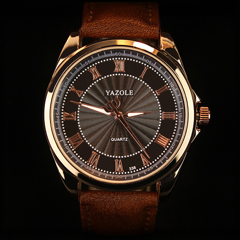 Fashion Luxury Brand Watches Men Watch Famous Roman Number Male Luminous Cheap PU Leather Clock Sports Wrist Watch Quartz-Watch