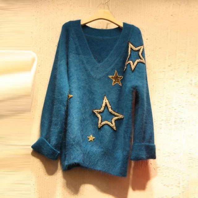 2017 осень-зима Блёстки звезды v-образным вырезом Пуловеры для женщин Аппликации Дамы Свитеры для женщин с длинным рукавом вертикальная свитер для Для женщин Топы корректирующие
