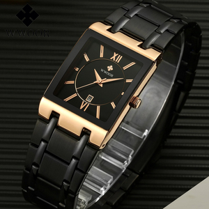 Image 2 - 2020 Luxury Mens Watch Quartz Analog Wristwatch WWOOR 8858 Man Stainless Steel Rectangular Business Watch Relogio Masculino #a